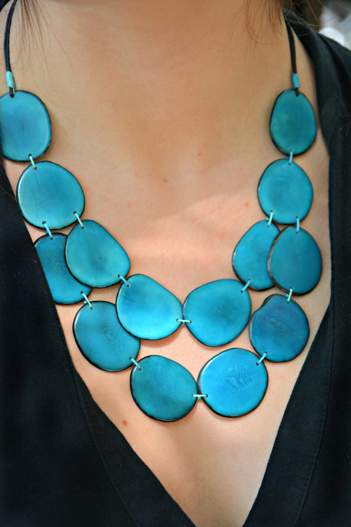 Fair Trade Blue Tagua Necklace