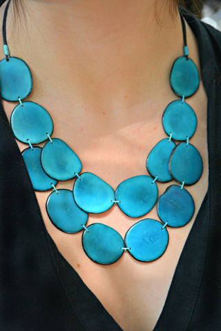 Blue Tagua Nut Necklace