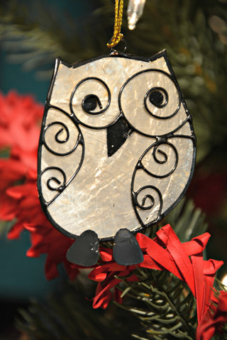 Capiz Shell Owl Ornament
