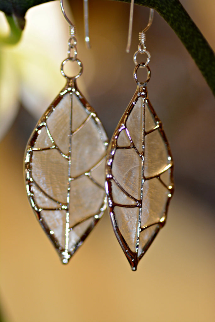 Capiz Shell Leaf Earrings