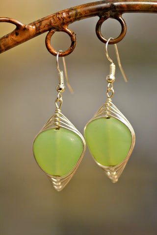 Celadon Wire Wrap Earrings