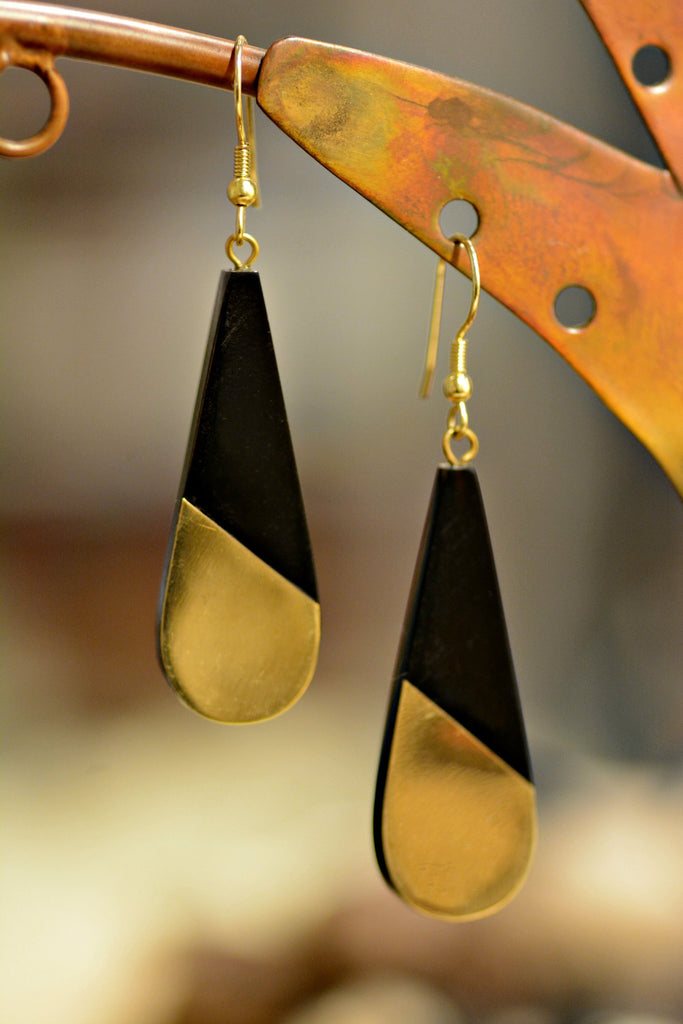handmade black and gold drop earrings