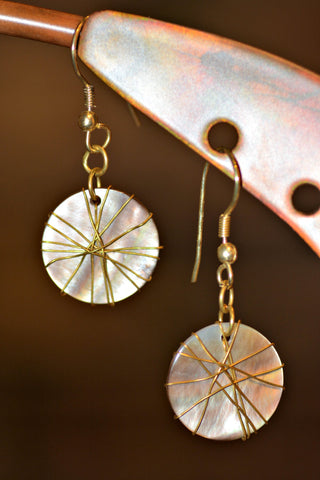 Wire Wrapped Mother of Pearl Earrings