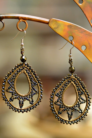 Leather & Beaded Teardrop Earrings