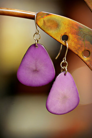 Tagua Leaf Earrings Lilac