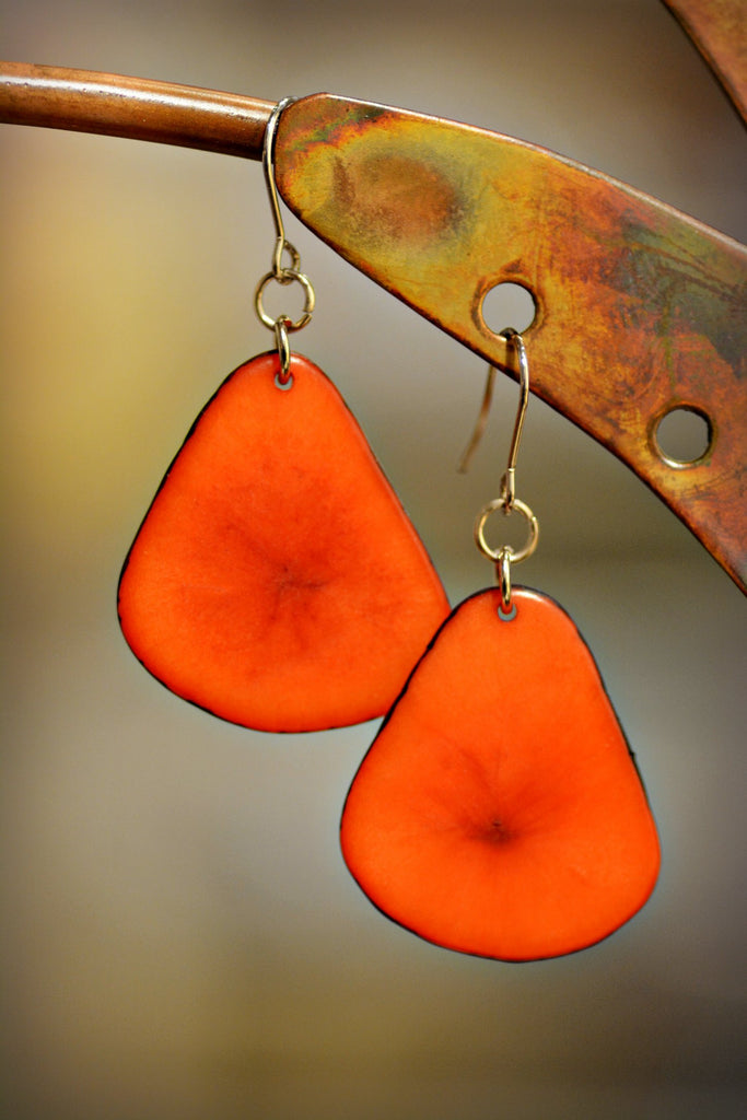 Carmine Tagua Leaf Earrings
