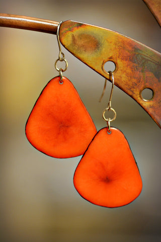 Tagua Leaf Earrings Carmine