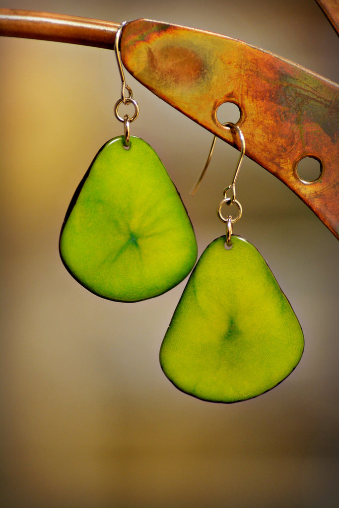 Avocado Tagua Leaf Earrings