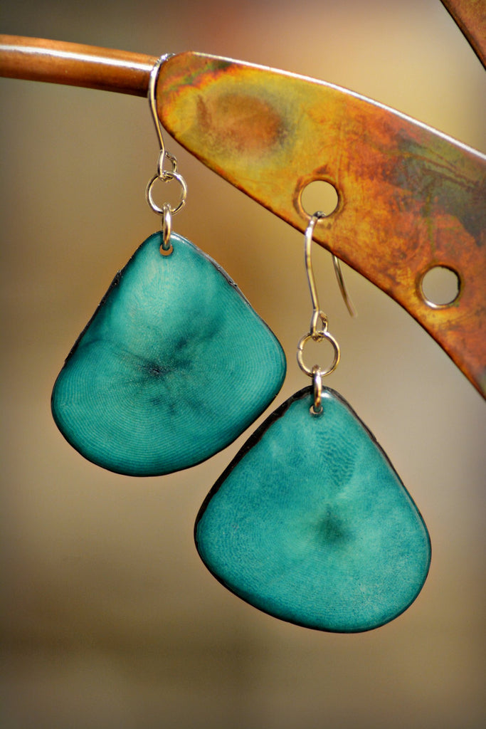 Green Sea Tagua Leaf Earrings