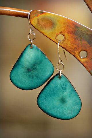 Tagua Leaf Earrings Green Sea