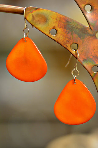 Tagua Leaf Earrings Orange