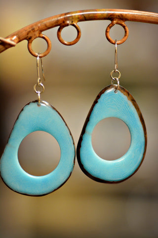 Tagua Loop Earrings Turquoise
