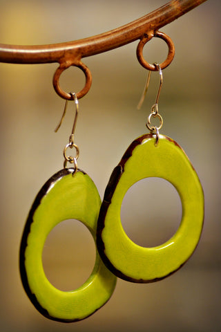 Tagua Loop Earrings Avocado