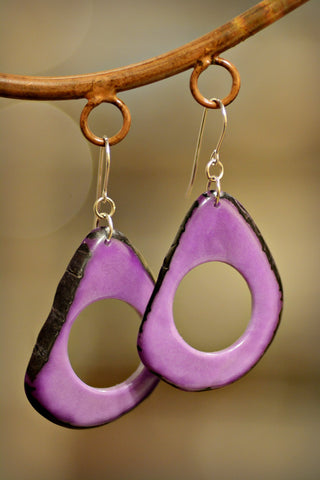 Tagua Loop Earrings Lilac