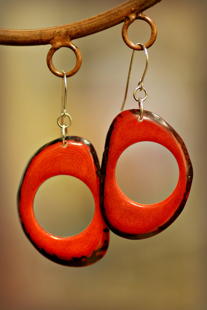 Carmine Tagua Nut Earrings