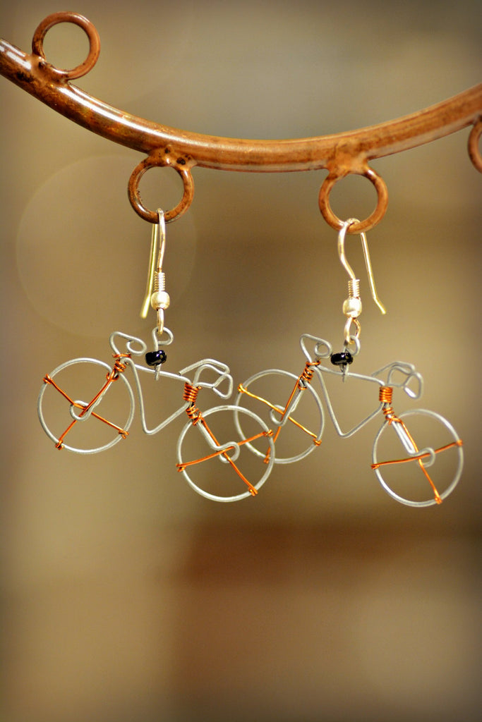 African Bicycle Earrings