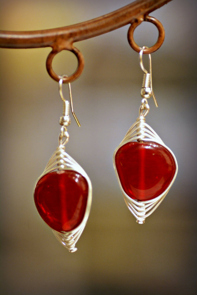 Scarlet Wire Wrap Earrings