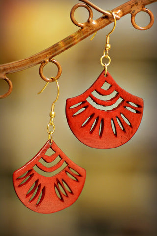 Scalloped Carved Bone Earrings