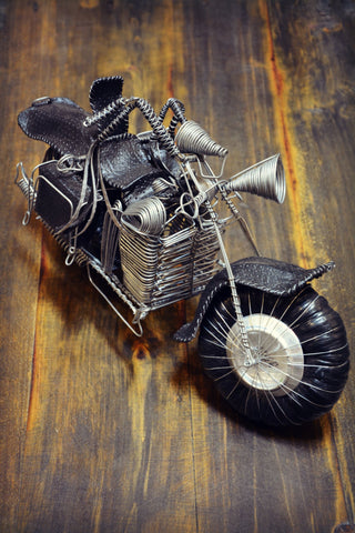Leather & Wire Motorcycle Sculpture