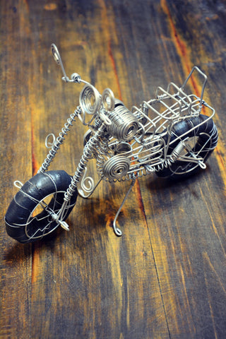 """On a Steel Horse I Ride"" Motorcycle Sculpture"