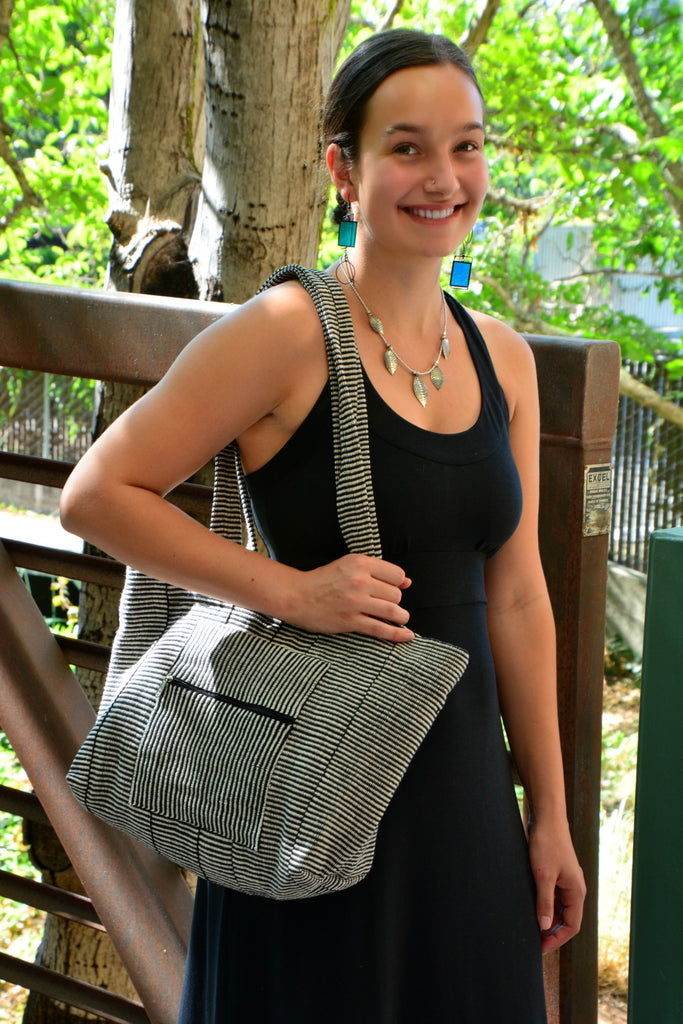 Black & White Cotton Weave Tote