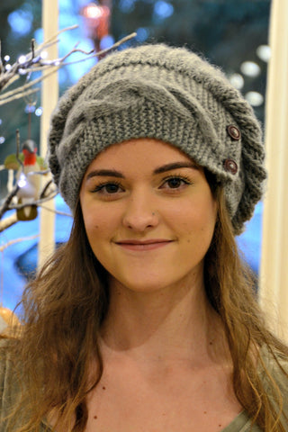 Peruvian Button Beanie - Grey