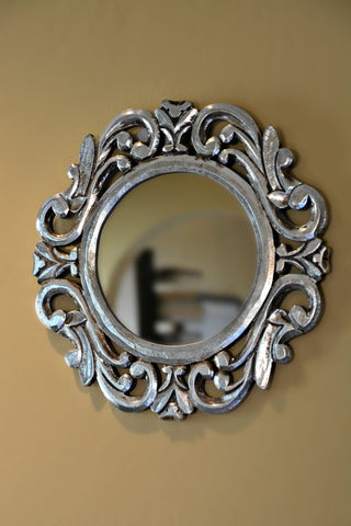 Indonesian Silver Wood Mirror