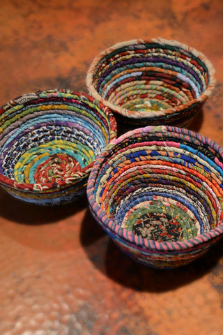 Recycled Silk Sari Coiled Bowl