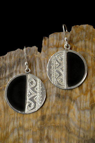Sterling Silver & Ebony Earrings