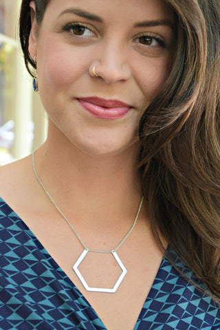 Gold or Silver Hexagon Necklace