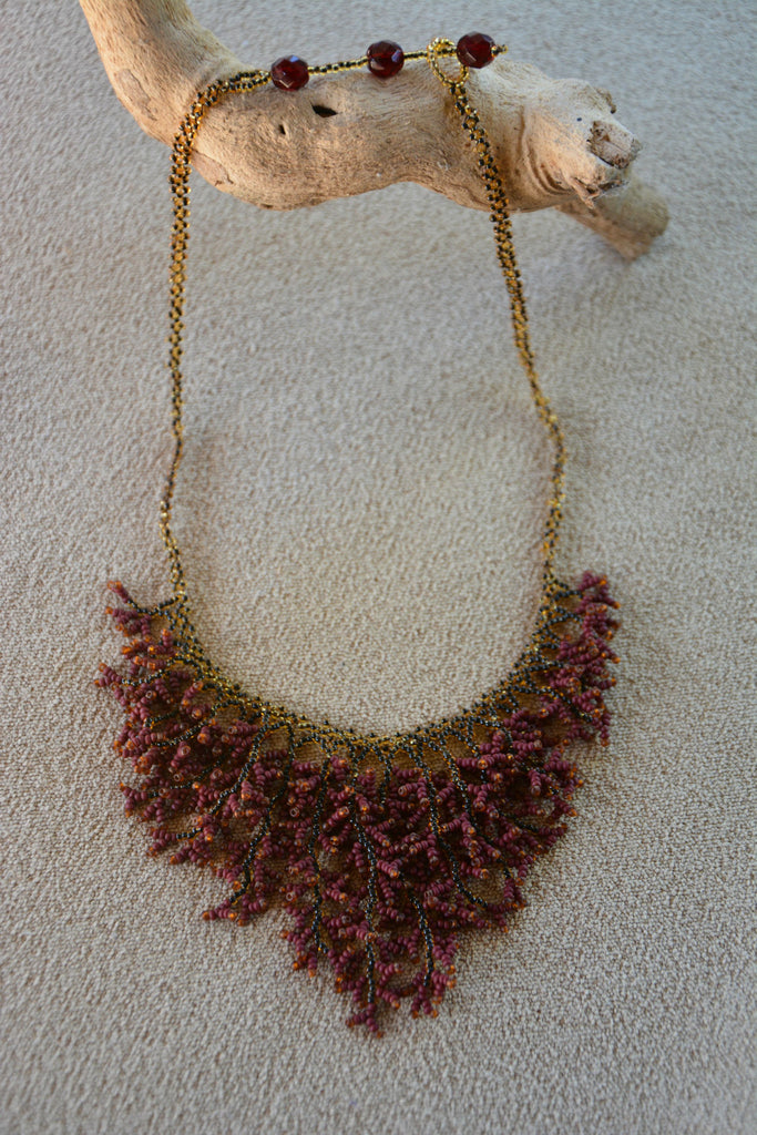 Fair Trade Beaded Coral Necklace