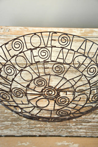 Live, Love, Laugh Wire Bowl