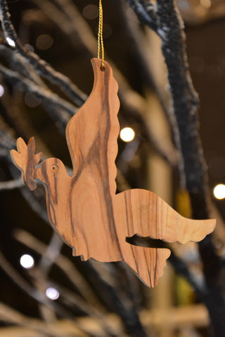 Olive Wood Peace Dove Ornament