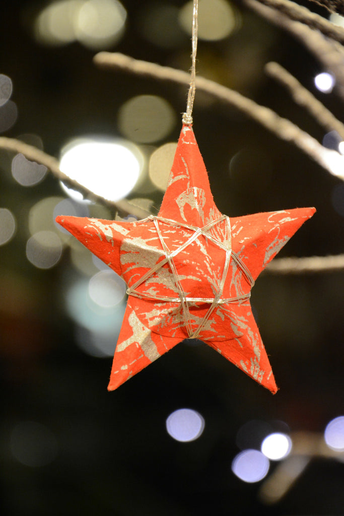 Red Paper Star Christmas Ornament