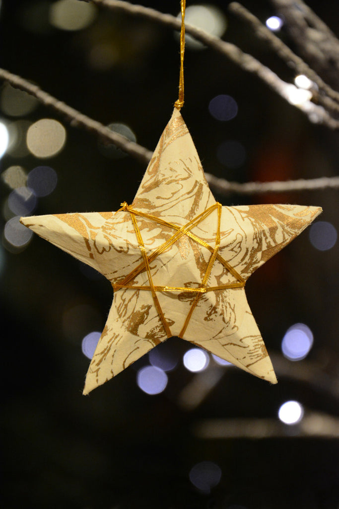 Handmade Gold Paper Star Ornament