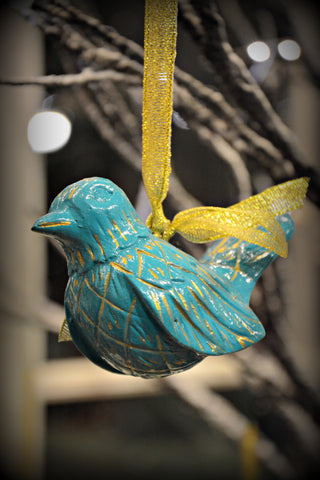Teal Wood Bird Ornament