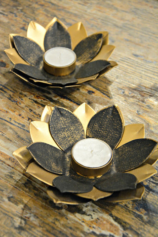 Metal Lotus Flower Candleholder