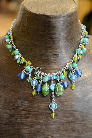 Beaded Blue and Green Glass Necklace
