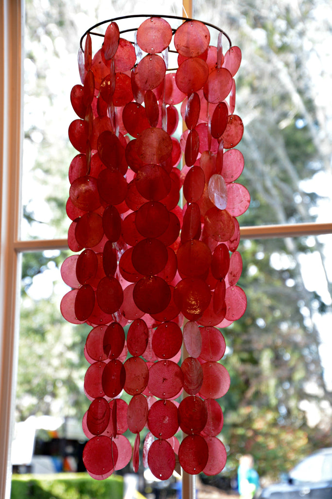 large red capiz shell windchime