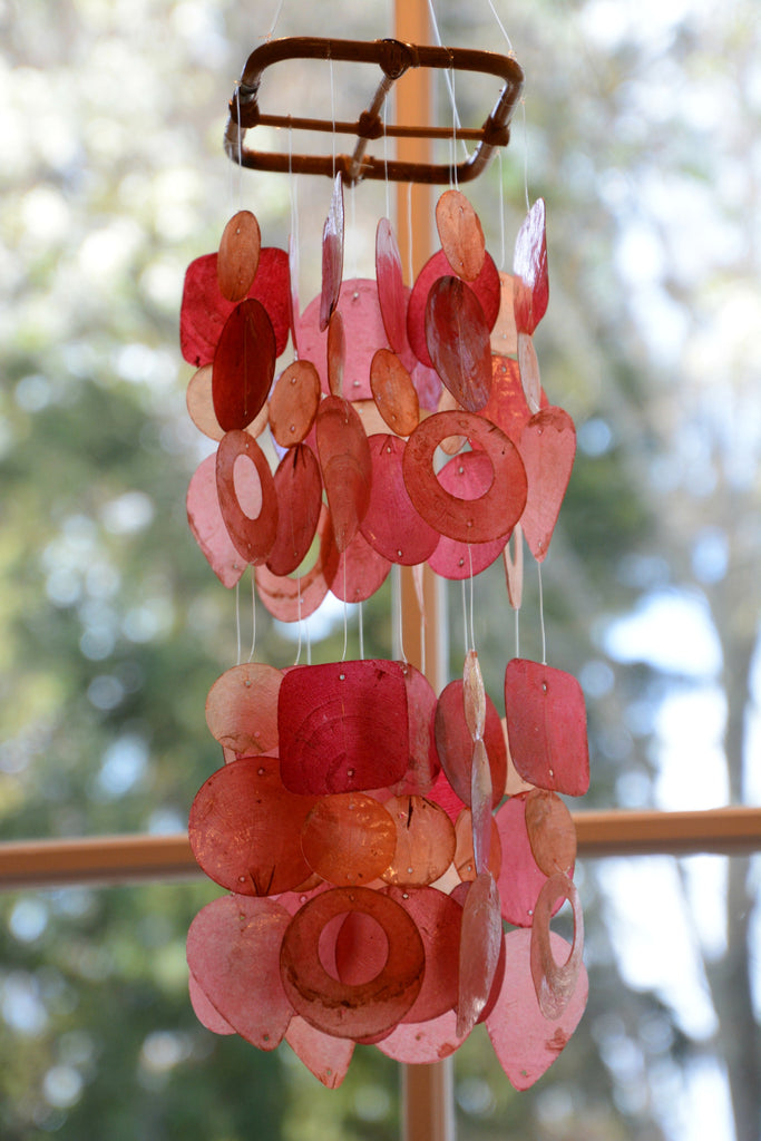 Red Capiz Shell Wind Chime