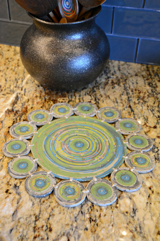 Round Recycled Newspaper Trivet