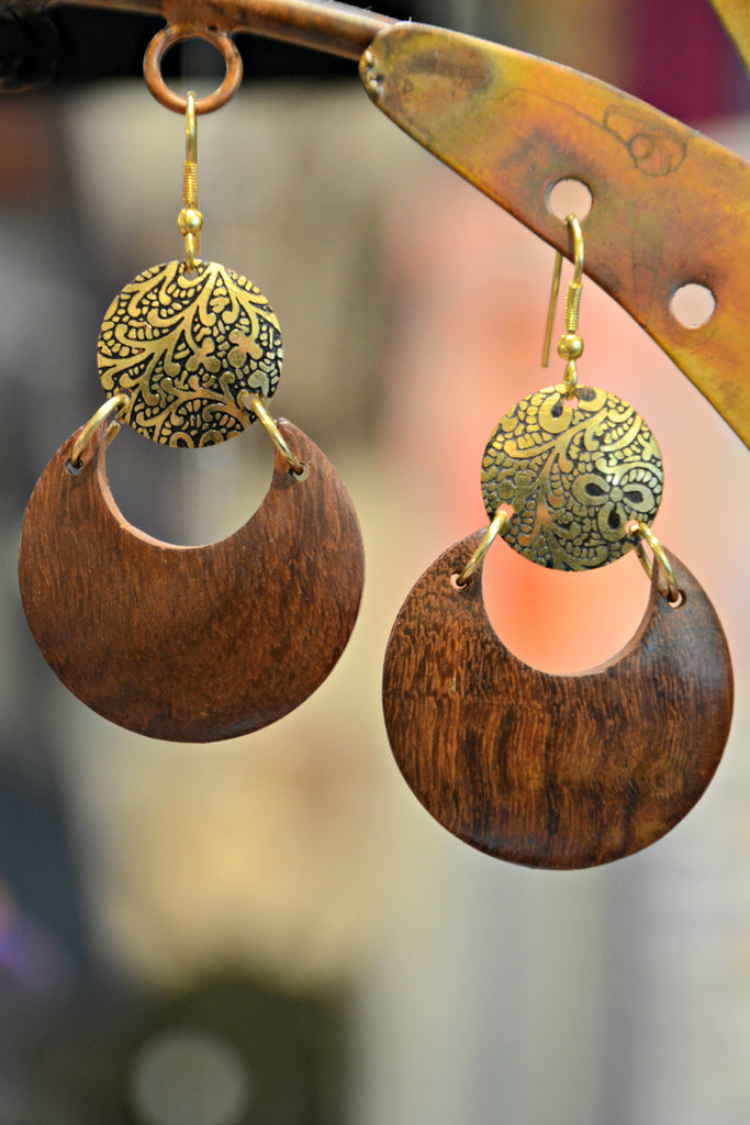 handmade wood teardrop earrings