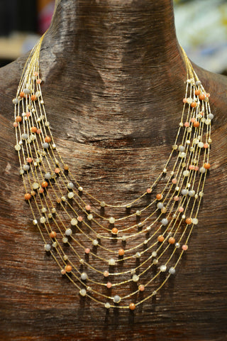 Delicate Thai Necklace- Earthtones