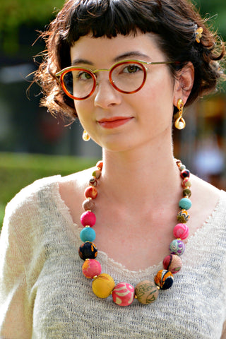 Chunky Kantha Bead Necklace