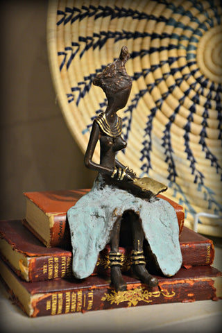 Bronze Sitting Reader Sculpture
