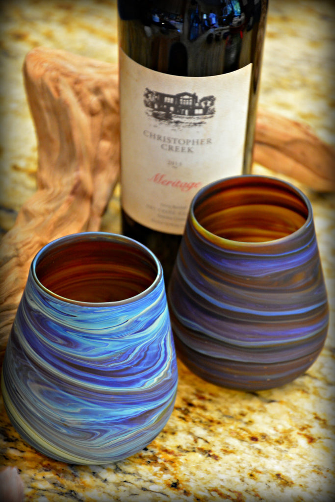 Hand-Blown Stemless Wine Glasses