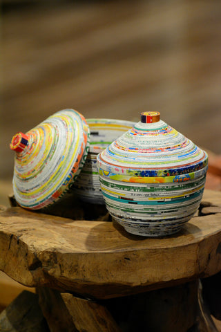 Lidded Recycled Poster Bowl