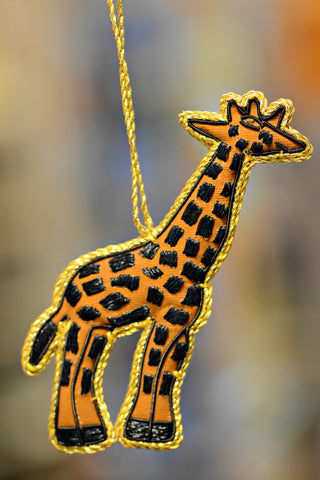 Hand Embroidered Giraffe Ornament