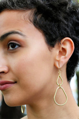 Double Teardrop Fair Trade Earrings - Gold