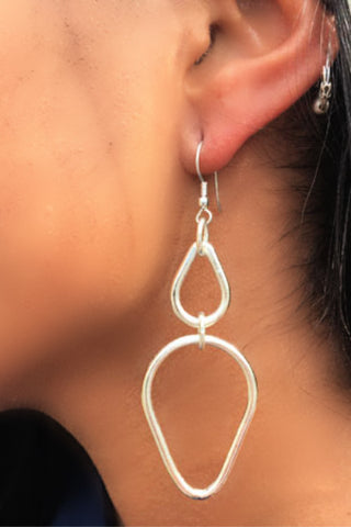 Double Teardrop Fair Trade Earrings - Silver